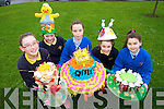 Students Holly Arnopp, Chloe Fitzpatrick, Molly Quane, Nicole Mongan, Victoria Pula in Presentation Primary School, Tralee, pictured on Monday with hats they made for an Easter bonnet competition where all hats were made from recycled materials