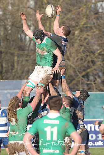 1.2.2014, Coventry, England.  Sam Pailor (Coventry) takes the line out  during the Division One fixture between Coventry and Wharfedale RFC from the Butts Park Arena.