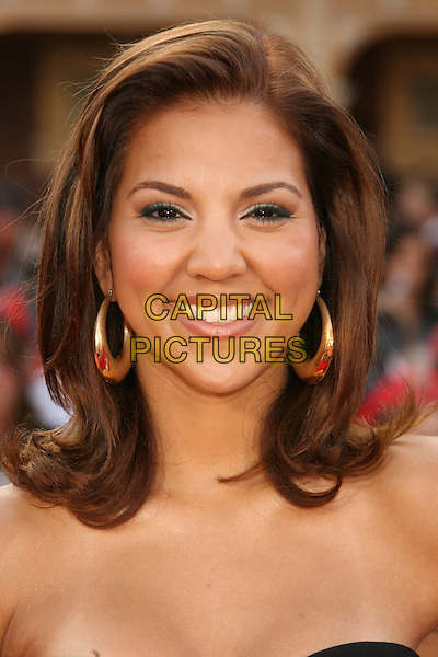 "LIZ HERNANDEZ.""Pirates Of The Caribbean: At World's End"" World Premiere held at Disneyland, Anaheim, California, USA,.May 19th, 007.3 headshot portrait gold hoop earrings .CAP/ADM/RE.©Russ Elliot/AdMedia/Capital Pictures"
