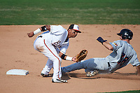 Bowie Baysox second baseman Garabez Rosa (2) waits for a throw as Mike Papi (38) slides into second during the second game of a doubleheader against the Akron RubberDucks on June 5, 2016 at Prince George's Stadium in Bowie, Maryland.  Bowie defeated Akron 12-7.  (Mike Janes/Four Seam Images)