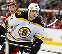 Boston Bruins Milan Lucic (17) during a game against the Carolina Hurricanes on January 28, 2013 at PNC Arena in Charlotte, NC. The Bruins beat the Hurricanes 5-3.