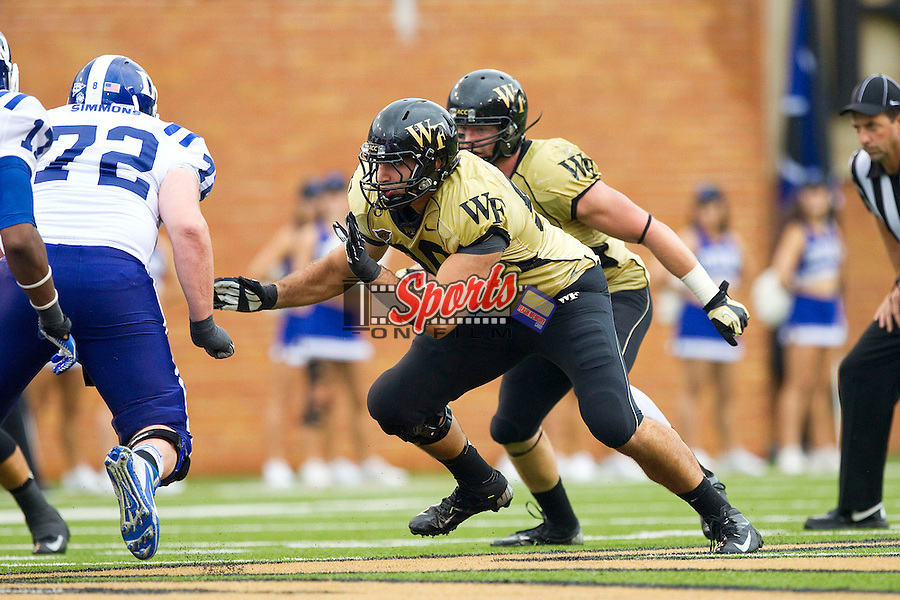 Hasan Hazime (96) of the Wake Forest Demon Deacons in action against the Duke Blue Devils at BB&T Field on September 29, 2012 in Winston-Salem, North Carolina.  The Blue Devils defeated the Demon Deacons 34-27.  (Brian Westerholt/Sports On Film)