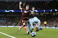 Manchester City's Leroy Sane is fouled by 1899 Hoffenheim's Dennis Geiger<br /> <br /> Photographer Rich Linley/CameraSport<br /> <br /> UEFA Champions League Group F - Manchester City v TSG 1899 Hoffenheim - Wednesday 12th December 2018 - The Etihad - Manchester<br />  <br /> World Copyright © 2018 CameraSport. All rights reserved. 43 Linden Ave. Countesthorpe. Leicester. England. LE8 5PG - Tel: +44 (0) 116 277 4147 - admin@camerasport.com - www.camerasport.com