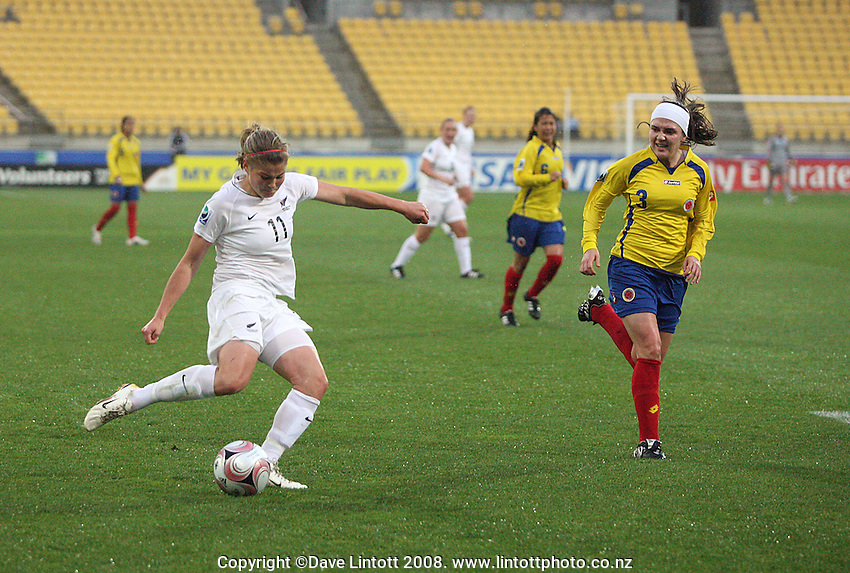Rosie White shoots her first goal during the FIFA Women's Under-17 World Cup pool match between New Zealand and Columbia at Westpac Stadium, Wellington, New Zealand on Tuesday, 4 November 2008. Photo: Dave Lintott / lintottphoto.co.nz