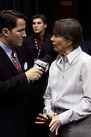 BERKELEY, CA - MARCH 30: Head coach Tara Vanderveer interviewed during Stanford's 74-53 win against the Iowa State Cyclones on March 30, 2009 at Haas Pavilion in Berkeley, California.