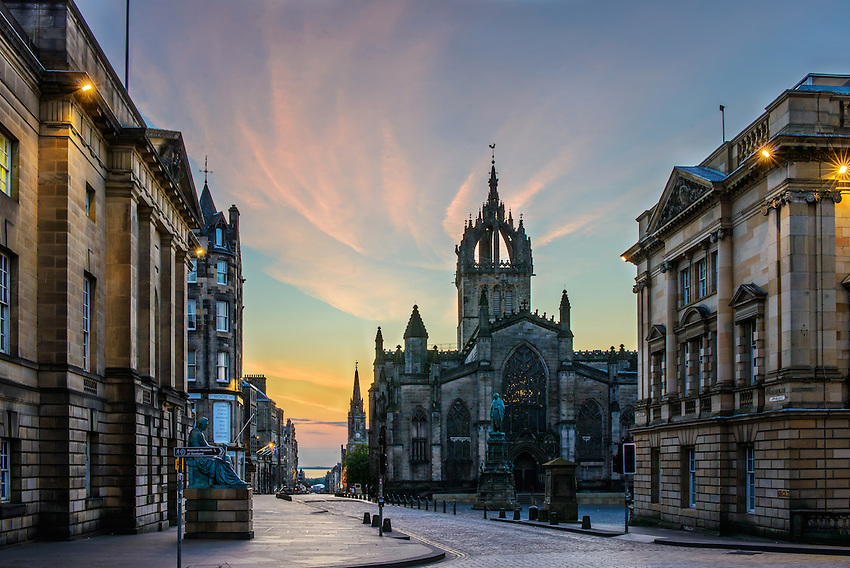 A view looking east down High Street, on the Royal Mile, in Edinburgh, Scotland, at sunrise on a Sunday morning. This photo was the winner of the Ilford Imaging monthly website photo contest for November, 2012.