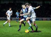 Luke O'Nien of Wycombe Wanderers and Glen Rea of Luton Town during the Sky Bet League 2 match between Wycombe Wanderers and Luton Town at Adams Park, High Wycombe, England on the 21st January 2017. Photo by Liam McAvoy.