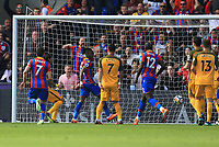 Wilfred Zaha of Crystal Palace scores the opener during Crystal Palace vs Brighton & Hove Albion, Premier League Football at Selhurst Park on 14th April 2018