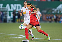 Portland, Oregon - Sunday September 11, 2016: Portland Thorns FC forward Nadia Nadim (9) shoots the ball during a regular season National Women's Soccer League (NWSL) match at Providence Park.