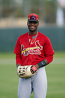 GCL Cardinals Luis Montano (19) during warmups before a Gulf Coast League game against the GCL Astros on August 11, 2019 at Roger Dean Stadium Complex in Jupiter, Florida.  GCL Cardinals defeated the GCL Astros 2-1.  (Mike Janes/Four Seam Images)