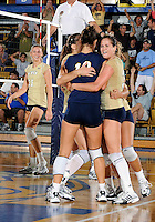 Florida International University women's volleyball players celebrate  against Oral Roberts University.  FIU won the match 3-2 on September 13, 2008 at Miami, Florida. .