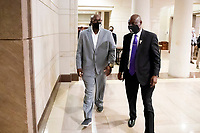 George Floyd's brother Philonise Floyd (L) and civil rights attorney Benjamin Crump (R) leave after testifying at the United States House Judiciary Committee hearing on 'Policing Practices and Law Enforcement Accountability', on Capitol Hill in Washington, DC, USA, 10 June 2020. The hearing comes after the death of George Floyd while in the custody of officers of the Minneapolis Police Department and the introduction of the Justice in Policing Act of 2020 in the US House of Representatives.<br /> Credit: Michael Reynolds / Pool via CNP/AdMedia