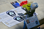 May 12, 2013  (Washington, DC) A tribute to Minneapolis Police officer David Loeffler and Sergeant William Herkal is displayed at the National Law Enforcement Officers Memorial in D.C.    (Photo by Don Baxter/Media Images International)