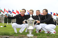 Nicolai Hojgaard John Axelsen Torben Henriksen Nyehus (Team Manager) Rasmus Hojgaard team Denmark winners of the World Amateur Team Championships Eisenhower Trophy 2018, Carton House, Kildare, Ireland. 08/09/2018.<br /> Picture Fran Caffrey / Golffile.ie<br /> <br /> All photo usage must carry mandatory copyright credit (&copy; Golffile | Fran Caffrey)