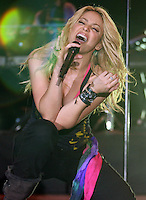 Columbian singer Shakira performs on stage during the fist day of the Rock in Rio festival at Bela Vista park in LIsbon,Portugal  on 21 May 2010