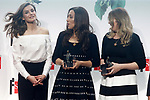 "Queen Letizia of Spain with Fatima Embark Ali and María Mercedes Murillo, writers of 'Siempre sera Diciembre - It will always be December', winners in the youth category of the SM Prizes for Children and Youth Literature ""El Barco de Vapor"" and ""Gran Angular"". April 18, 2017. (ALTERPHOTOS/Acero)"