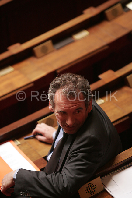"""© REMI OCHLIK/IP3; PARIS, FRANCE LE 16/05/2006 - ASSEMBLEE NATIONALE : MOTION DE CENSURE DE LA NICHE PS : PROPOSITION DE LOI VISANT A L ABROGATION DU CPE ET DU CNE - FRANCOIS BAYROU....The contrat premiere embauche (CPE), translated first employment contract, was a new form of employment contract pushed in spring 2006 in France by Prime Minister Dominique de Villepin. This employment contract, available solely to employees under 26, would have made it easier for the employer to fire employees by removing the need to provide reasons for dismissal for an initial """"trial period"""" of two years, in exchange for some financial guarantees for employees. ....The law has met heavy resistance from students, trade unions, and left-wing activists, sparking protests in February and March 2006 (and continuing into April) with hundreds of thousands of participants in over 180 cities and towns across France"""