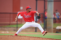 GCL Phillies West pitcher Aidan Anderson (46) during a Gulf Coast League game against the GCL Yankees East on August 3, 2019 at the Carpenter Complex in Clearwater, Florida.  The GCL Phillies West defeated the GCL Yankees East 15-7 in a completion of a game that was originally started on July 26, 2019.  (Mike Janes/Four Seam Images)
