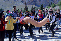Pictured: A man with a giant penis in Tirnavos, central Greece. Monday 11 March 2019<br /> Re: Bourani (or Burani) the infamous annual carnival which dates to 1898 which takes place on the day of (Clean Monday), the first days of Lent in Tirnavos, central Greece, in which men hold phallus shaped objects as scepters in their hands.