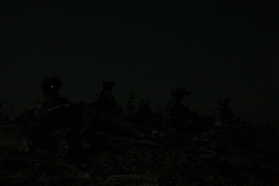 Soldiers from Alpha Battery 3-321 Field Artillery in Afghanistan's eastern Khost Province carry out a night patrol near the Afghan-Pakistan border on Sunday Oct. 12, 2008.