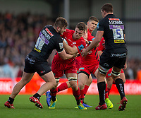 Saracens' Ben Earl is tackled by Exeter Chiefs' Alec Hepburn<br /> <br /> Photographer Bob Bradford/CameraSport<br /> <br /> Gallagher Premiership Round 10 - Exeter Chiefs v Saracens - Saturday 22nd December 2018 - Sandy Park - Exeter<br /> <br /> World Copyright &copy; 2018 CameraSport. All rights reserved. 43 Linden Ave. Countesthorpe. Leicester. England. LE8 5PG - Tel: +44 (0) 116 277 4147 - admin@camerasport.com - www.camerasport.com