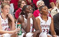Bonnie Samuelson, Chiney Ogwumike, Amber Orrange watch Saturday, November 25, 2012 game at Stanford against Long Beach State.. Stanford won 77-41.