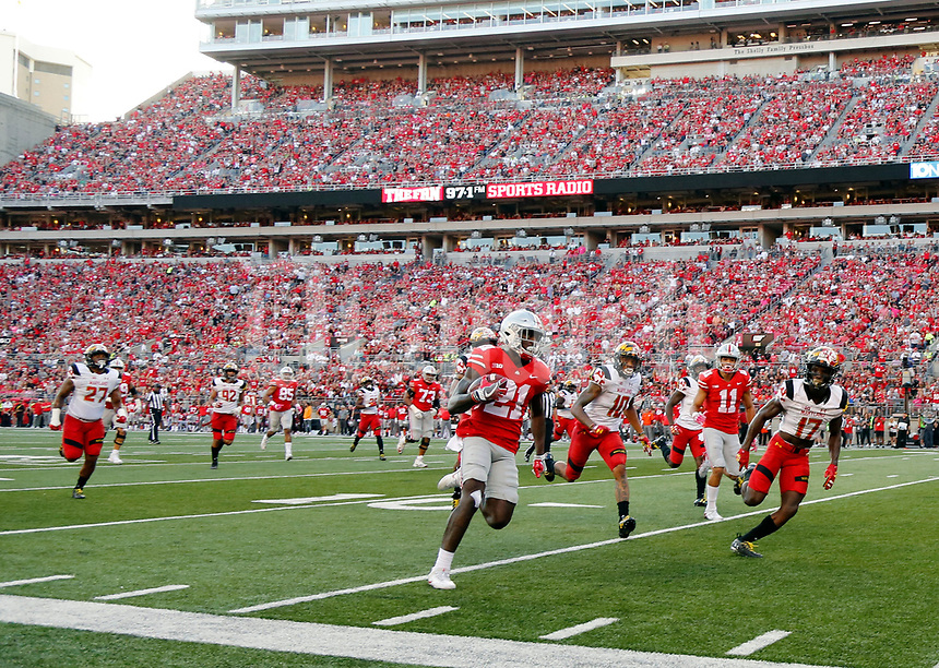 Ohio State Buckeyes wide receiver Parris Campbell (21) scores a touchdown after a catch against Maryland Terrapins during the 2nd quarter at Ohio Stadium in Columbus, Ohio on October 7, 2017.  [Kyle Robertson/Dispatch]