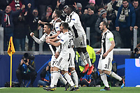 Cristiano Ronaldo of Juventus celebrates with team mates  after scoring goal of 2-0 during the Uefa Champions League 2018/2019 round of 16 second leg football match between Juventus and Atletico Madrid at Juventus stadium, Turin, March, 12, 2019 <br />  Foto Andrea Staccioli / Insidefoto