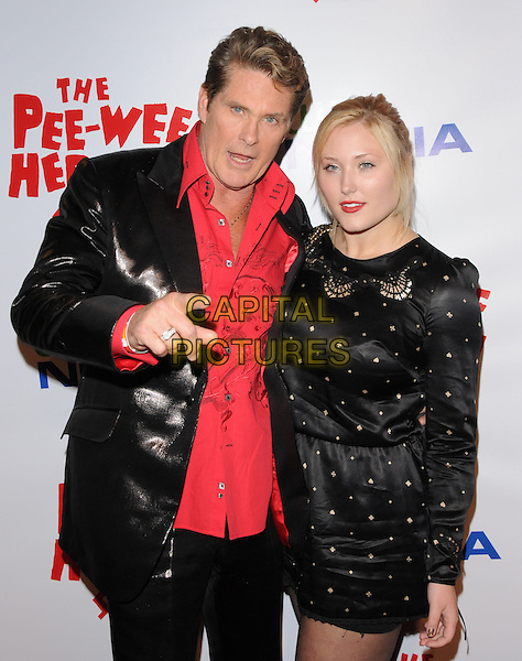 DAVID HASSELHOFF & HAYLEY HASSELHOFF.The The Pee-Wee Herman Show Opening Night held at Club Nokia at L.A. Live in Los Angeles, California, USA..January 20th, 2010.half length black pink shirt jacket shiny leather dress long sleeves gold studs studded mouth open hand finger pointing father dad daughter family .CAP/RKE/DVS.©DVS/RockinExposures/Capital Pictures.