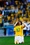 (L-R) Neymar, David Luiz (BRA),<br /> JUNE 28, 2014 - Football / Soccer :<br /> Neymar and David Luiz celebrate after winning the penalty shoot out during the FIFA World Cup Brazil 2014 Round of 16 match between Brazil 1(3-2)1 Chile at Estadio Mineirao in Belo Horizonte, Brazil. (Photo by D.Nakashima/AFLO)