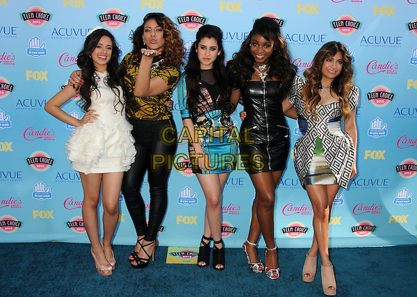 Fifth Harmony<br /> 2013 Teen Choice Awards - Arrivals held at Gibson Amphitheatre, Universal City, California, USA.<br /> August 11th, 2013<br /> full length  band group Lauren Juaregi, Normani Hamilton, Ally Brooke, Dinah Jane Hansen white black blue dress pattern  leather trousers yellow top<br /> CAP/ADM/BP<br /> &copy;Byron Purvis/AdMedia/Capital Pictures