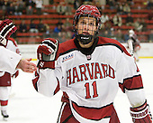 Kyle Criscuolo (Harvard - 11) celebrates his first collegiate goal. - The Harvard University Crimson defeated the visiting Brown University Bears 3-2 on Friday, November 2, 2012, at the Bright Hockey Center in Boston, Massachusetts.