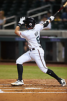 Salt River Rafters Seth Beer (8), of the Arizona Diamondbacks organization, hits a home run during an Arizona Fall League game against the Mesa Solar Sox on September 27, 2019 at Salt River Fields at Talking Stick in Scottsdale, Arizona. Salt River defeated Mesa 6-1. (Zachary Lucy/Four Seam Images)