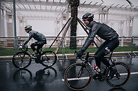Marcel Sieberg (DEU/Lotto-Soudal) on his way to the race start on the Promenade des Anglais in torrential rained down Nice (and next to the Mediterranean Sea)<br /> <br /> 76th Paris-Nice 2018<br /> Stage 8: Nice > Nice (110km)