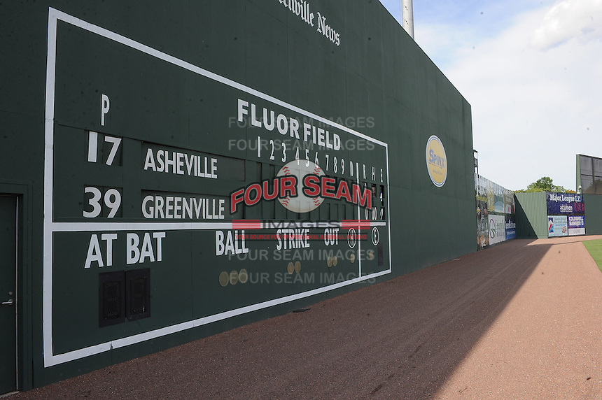 The left field wall at Fluor Field at the West End in Greenville, South Carolina, is modeled after the Green Monster at Fenway Park. The wall is shown here before a game between the Greenville Drive and the Asheville Tourists on May 16, 2012. (Tom Priddy/Four Seam Images)