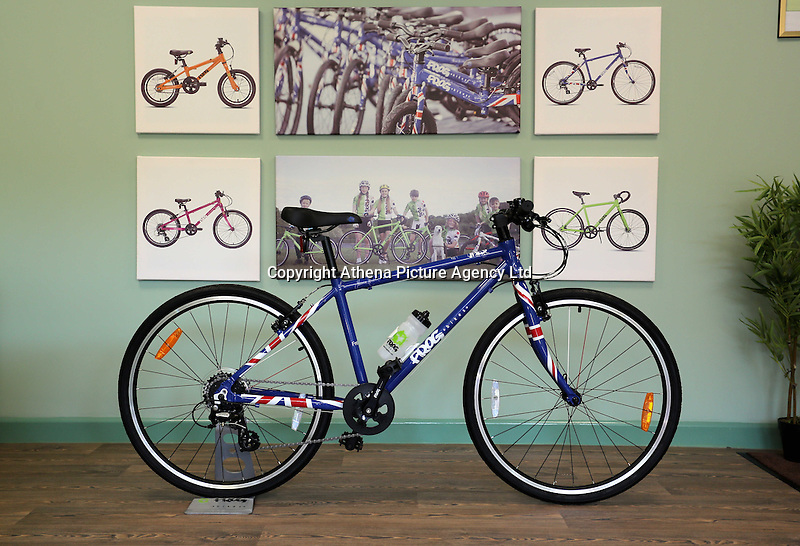 Pictured: One of the bicycles in the colours of the British flag assembled at the plant Monday 15 August 2016<br />