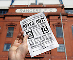 Rangers fans at Ibrox distributing leaflets against the board