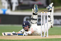 2nd December, Hamilton, New Zealand; England's Ollie Pope dives to make his ground on day 4 of the 2nd test cricket match between New Zealand and England  at Seddon Park, Hamilton, New Zealand.