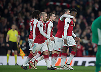 Danny Welbeck of Arsenal celebrates scoring his second goal during the UEFA Europa League round of 16 2nd leg match between Arsenal and AC Milan at the Emirates Stadium, London, England on 15 March 2018. Photo by Vince  Mignott / PRiME Media Images.