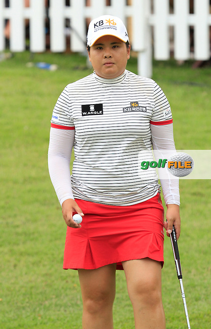 Inbee Park (KOR) on the 17th green during Round 3 of the HSBC Women's Champions at the Sentosa Golf Club, The Serapong Course in Singapore on Saturday 7th March 2015.<br /> Picture:  Thos Caffrey / www.golffile.ie