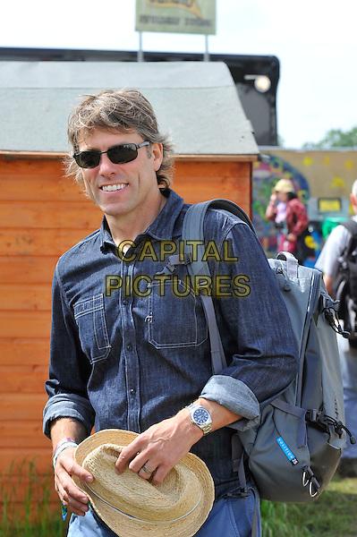 John Bishop <br /> At Glastonbury Festival, Worthy Farm, Pilton, Somerset, <br /> England, UK, 28th June 2013.<br /> half length sunglasses hat denim shirt <br /> CAP/MAR<br /> &copy; Martin Harris/Capital Pictures