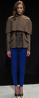 """IRYNA (MAJOR)- brown herringbone caplet, brown herring bone and leather jacket, magenta tie neck blouse, electric blue moto pants, leopard multi pump with gold toe cap"" Mercedes Benz Fashion Week, Marissa Webb fall/holiday 13, NYC, Feburary 09 2013"