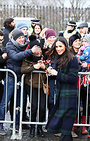 Ms. Meghan Markle arrive at the Esplanade in front of the Edinburgh Castle in Edinburgh, on February 13, 2018, on their first official joint visit to Scotland Photo: Albert Nieboer / Netherlands OUT / Point De Vue Out - NO WIRE SERVICE - Photo: Albert Nieboer/RoyalPress/dpa /MediaPunch ***FOR USA ONLY***