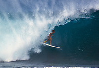 Mark Occhilupo (AUS) surfing Pipeline during the running of the Pipeline Masters circa January 1986. Photo: Joliphotos