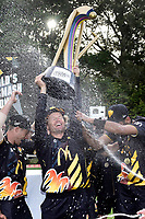 Firebirds' Hamish Marshall (C holds the McDonalds Super Smash Trophy during the Stags v Firebirds - Super Smash cricket Grand Final at Pukekura Park in New Plymouth on Saturday the 07 January 2017. Copyright Photo by Marty Melville / www.Photosport.nz