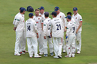 Jamie Porter of Essex celebrates with his team mates after taking the wicket of Michael Burgess during Warwickshire CCC vs Essex CCC, Specsavers County Championship Division 1 Cricket at Edgbaston Stadium on 11th September 2019