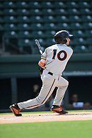 Shortstop Adam Hall (10) of the Delmarva Shorebirds bats in a game against the Greenville Drive on Friday, August 2, 2019, in the continuation of rain-shortened game begun August 1, at Fluor Field at the West End in Greenville, South Carolina. Delmarva won, 8-5. (Tom Priddy/Four Seam Images)
