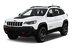 2019 Jeep Cherokee Trailhawk 5 Door SUV angular front stock photos of front three quarter view