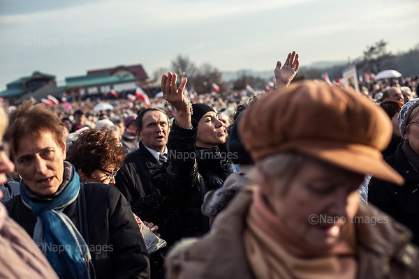 Krakow Lagiewniki 19.11.2016 Poland<br /> Tens of thousands of catholic pilgrims participated in the ceremony in Crakow, where Polish Bishops and President Andrzej Duda declared Christ King of Poland. After the winning parliamentary elections, Polish conservative Law and Justice party highly supports the Church and exalts catholic feests to the rank of national holidays<br /> <br /> Photo: Adam Lach / Napo Images for GEO Magazine