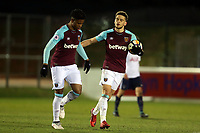 Marcus Browne of West Ham is congratulated after scoring the second goal during West Ham United Under-23 vs Tottenham Hotspur Under-23, Premier League 2 Football at the Chigwell Construction Stadium on 12th February 2018